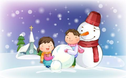 男孩和女孩正在做一个雪人