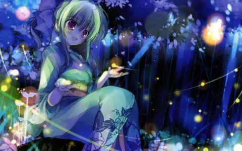 女孩坐在森林里