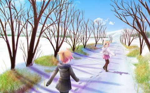 在雪路上的动漫女孩
