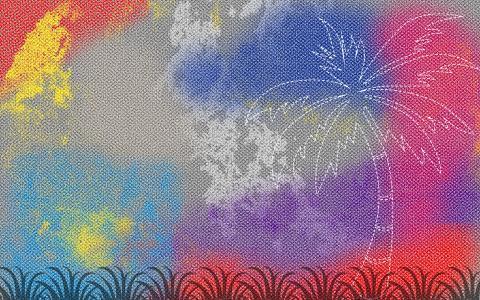 棕榈树上多彩的画布