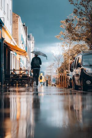 下雨天一个人走的图片