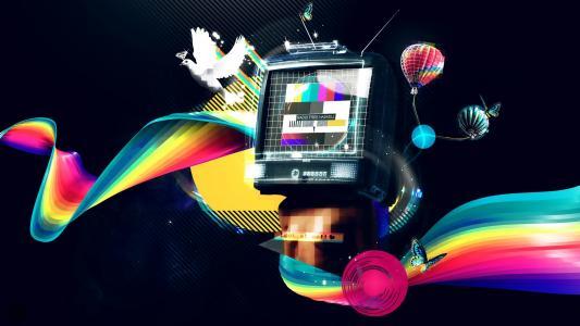 被彩虹包围的复古电视