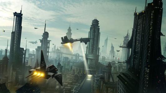 未来主义大都市中的太空飞船