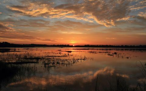 惊人的日落在湖上