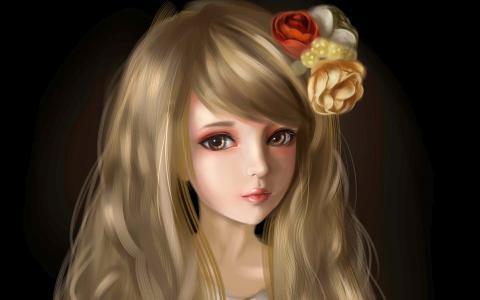 在她的头发花的金发美女