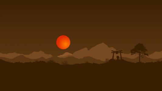 橙色的太阳