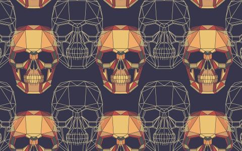 几何的头骨模式
