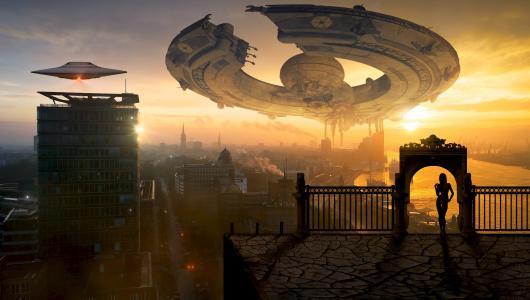 未来酷炫高科技飞船
