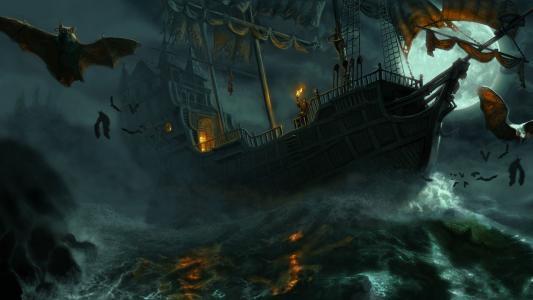 在愤怒的海面上的城堡船