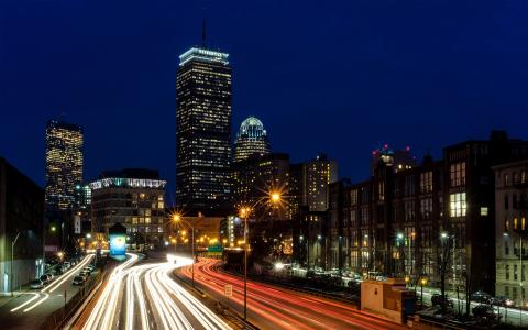 繁华的波士顿夜景