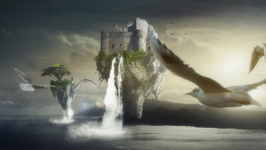 雄伟壮观的悬浮飞天城堡