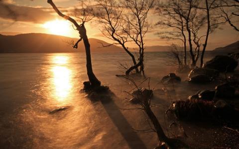 在湖上的日落