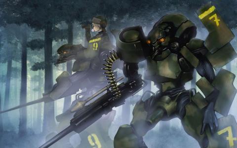 男孩和机器人狩猎