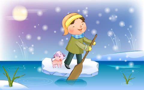 男孩和狗在冰筏上