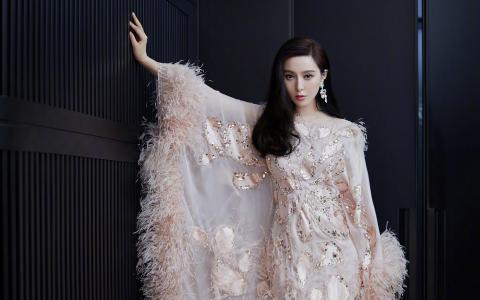 范冰冰气质羽毛裙